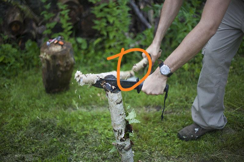 batoning log breaking
