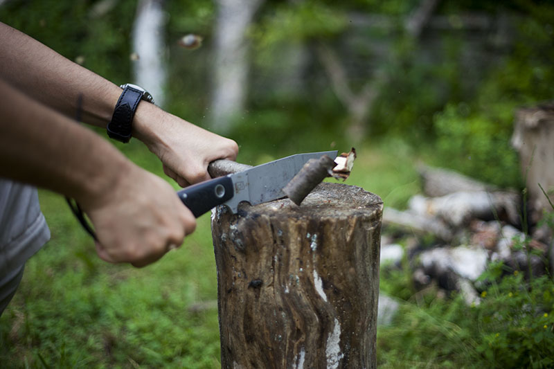 outdoor camping knife in action