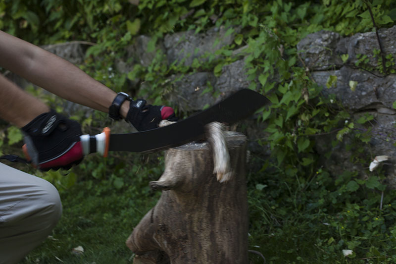 chopping with survival knife