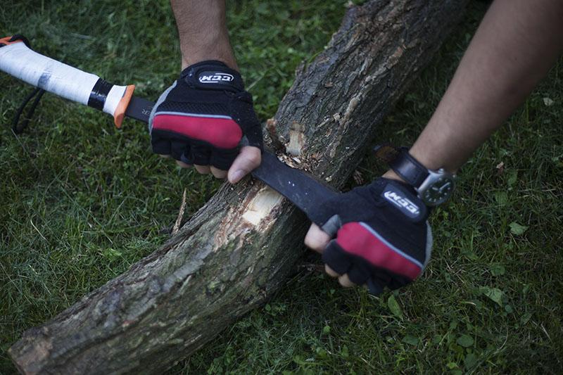 bark shaving with machete knife