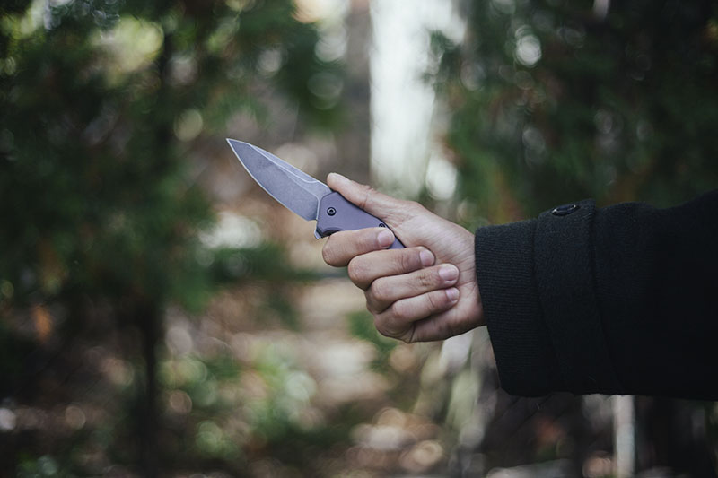 gray aluminum blackwash kershaw link folding knife everyday carry test