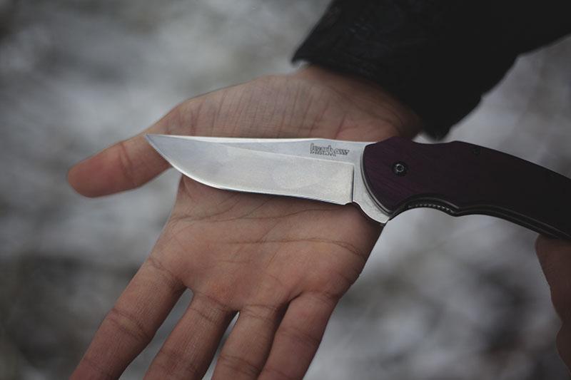 purple wooden handles kershaw tremor custom
