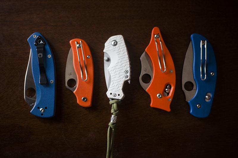 blue-orange-white-handle-pocket-knives-folding-edcs