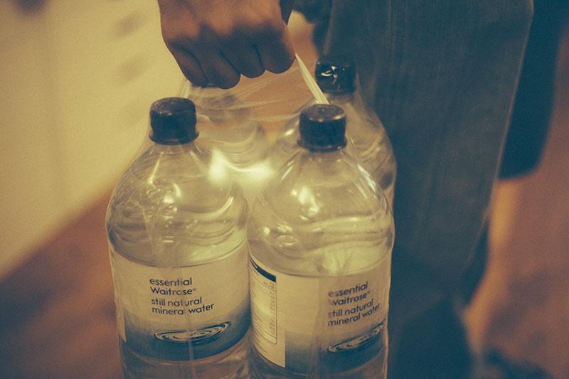 preppers prepping preparedness blog stockpiling water in bottles